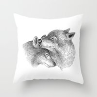 wolves Throw Pillows featuring WOLVES by Thiago Bianchini