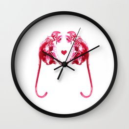 Red Monkeys in Love - Watercolor Painting Wall Clock