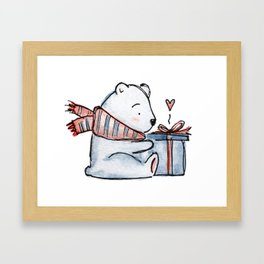 Christmas gift bear Framed Art Print