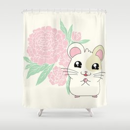 Hamster and Peony Shower Curtain