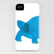 Turtle Illustration Blue iPhone (4, 4s) Slim Case