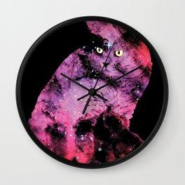 Celestial Cat - The British Shorthair & The Pelican Nebula Wall Clock