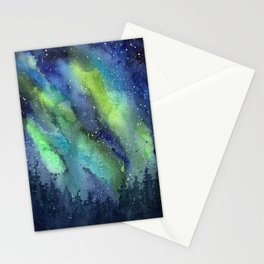 Galaxy Aurora Northern Lights Nebula Space Watercolor Stationery Cards