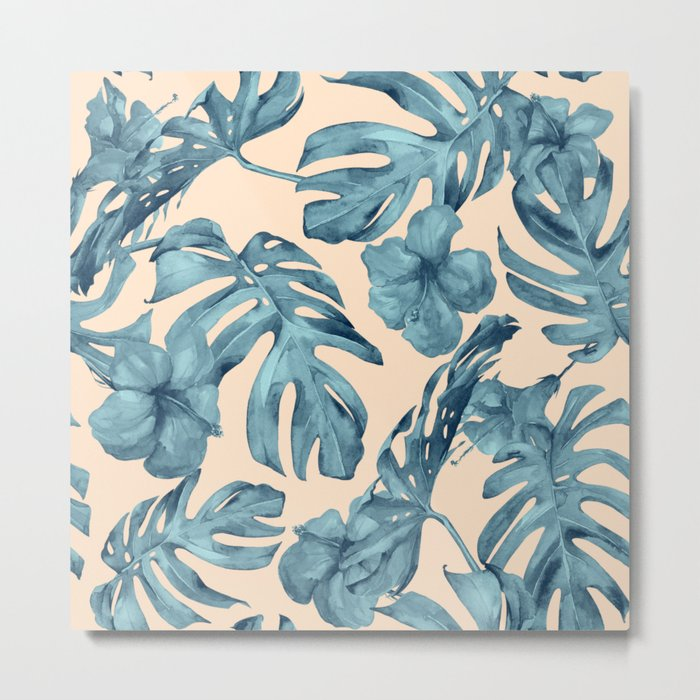Island Vacay Hibiscus Palm Pale Coral Teal Blue Metal Print