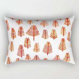 Watercolor Orange Pine Shaped Patterns Rectangular Pillow