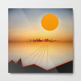 Horizon Sunset Orange Blue Metal Print