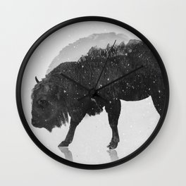 European Buffalo (B&W) Wall Clock