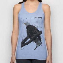 Looking up to a Bald Eagle Unisex Tank Top