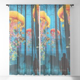Electric Jellyfish Worlds in a New Blue Forest Sheer Curtain