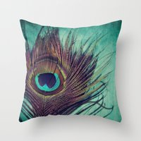 peacock feather Throw Pillows featuring Peacock Feather by KunstFabrik_StaticMovement Manu Jobst