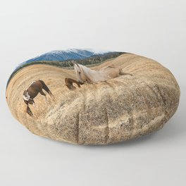 Mountain Horse - Western Style in the Grand Tetons Floor Pillow