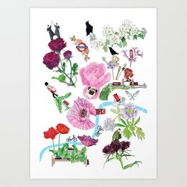 London in Bloom - Flowers and transportation that make London Art Print