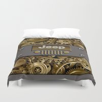 jeep Duvet Covers featuring Steampunk Jeep with Gear machines iPhone 4 4s 5 5c 6, pillow case, mugs and tshirt by Greenlight8