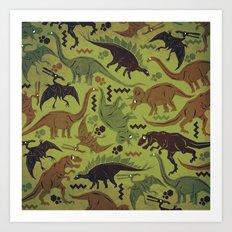 Camouflage Dinosaur Geometric Pattern Art Print
