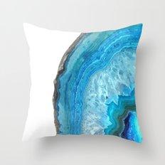 Druze blue agate Throw Pillow