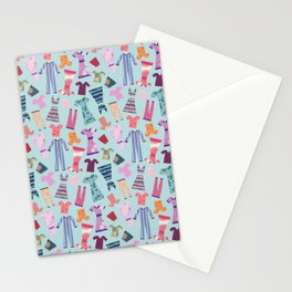 Dress Papercut Pattern - blue Stationery Cards