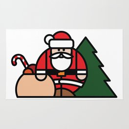 Santa Claus, bag of toys and Christmas tree Rug
