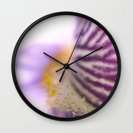 Purple Iris Petals and Yellow Stamen Macro Photography_2 Wall Clock