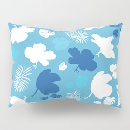 Hand drawn hibiscus, tropical leaves blue and white  Pillow Sham