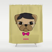 sam smith Shower Curtains featuring MEET SAM by MEET THE PUGS
