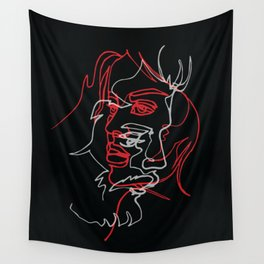 Two faces, continuous line оn black Wall Tapestry