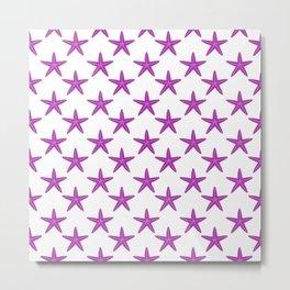 Starfishes (Purple & White Pattern) Metal Print