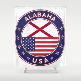 Alabama, Alabama t-shirt, Alabama sticker, circle, Alabama flag, white bg Shower Curtain