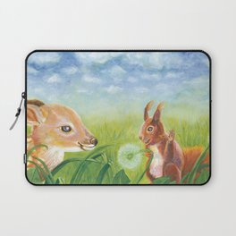 Fawn and Squirrel Illustration Laptop Sleeve
