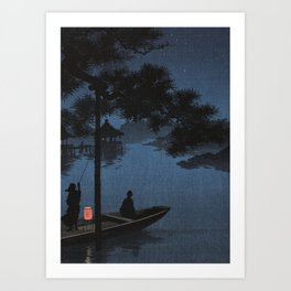 Boat with Lantern Beneath Shubi Pine Art Print