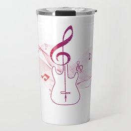 Music Notes Illustration With A Treble Clef Travel Mug