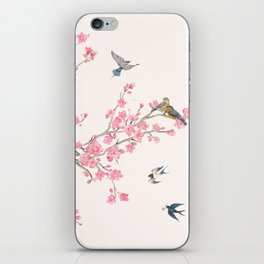 Birds and cherry blossoms iPhone Skin