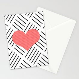 Red heart - Abstract geometric pattern - black and white. Stationery Cards