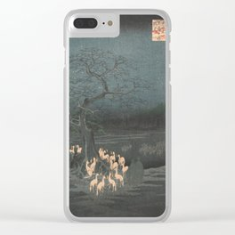 New Year's Eve Foxfires at the Changing Tree, Hiroshige Clear iPhone Case
