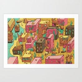 Deertown Art Print