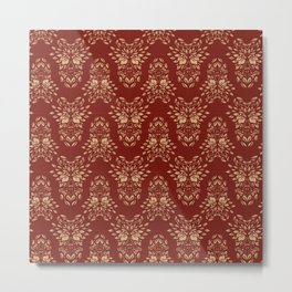 Abstract Geometric - kind of damasc style - royal red and gold Metal Print