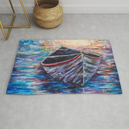 Wooden Boat at Sunrise - original oil painting with palette knife Rug