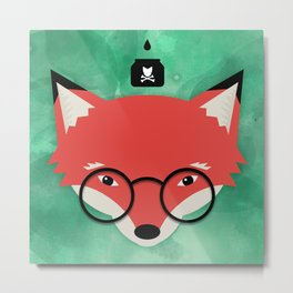 Smart Fox Metal Print