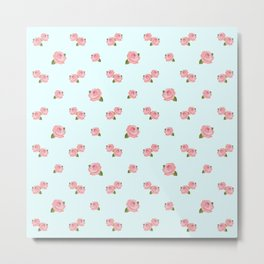 Pink Roses Repeat Pattern on Lt Blue Metal Print