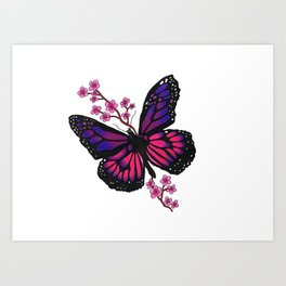 butterfly with blossom Art Print