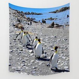 King Penguins returning to the colony Wall Tapestry