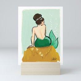 Green Gold Mermaid Mini Art Print