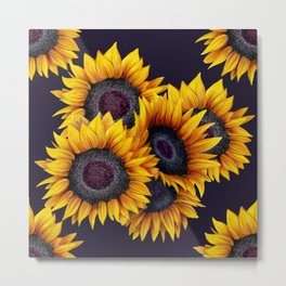 Sunflowers yellow navy blue elegant colorful pattern Metal Print