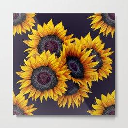 Sunflowers yellow navy blue elegant colorful pattern Metal Print