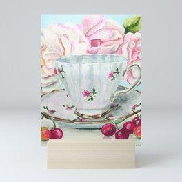 Teacup, Cherries and Pink Roses Mini Art Print