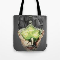 video games Tote Bags featuring Triangles Video Games Heroes - Sam Fisher by s2lart