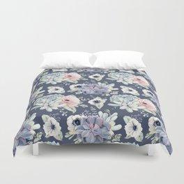Beautiful Succulent Garden Navy Blue + Pink Duvet Cover
