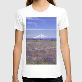 Mt Hood Oregon in Wildflowers T-shirt