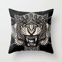 bioworkz Throw Pillows featuring Eye of the Tiger by BIOWORKZ