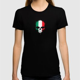 Flag of Italy on a Chaotic Splatter Skull T-shirt