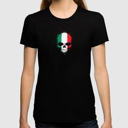 Flag of Italy on a Chaotic Splatter Skull T-shirt